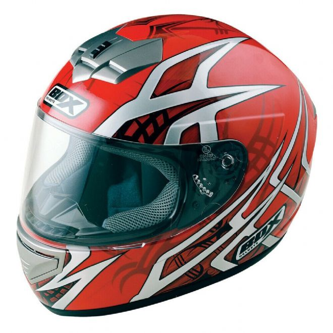 Box BX-1 Web Red Black Full Face Motorcycle Motorbike Scooter Helmet